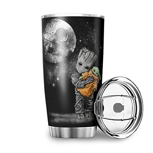 Homedb Edelstahl Rostfrei Tassen Baby Groot umarmt Yoda Becher Doppelwand Isolierung Reisebecher 600 ml Travel Mug mit Deckel Edelstahlbecher Kaffeebecher to go Isolierbecher White 600ml