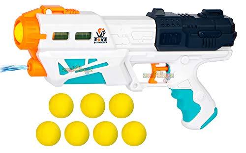 zest 4 toyz Magic Blaster Gun Toy for Kids Boys 2 in 1 Water Shooting Long Range Gun with 6 Foam Soft EVA Ball Bullets Gun (Assorted)
