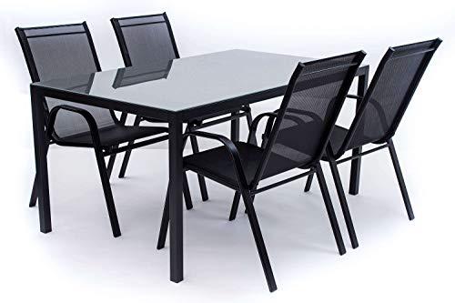 AVANTI TRENDSTORE - Zeno - Set da Giardino Composto da 1 Tavolo in Metallo e Vetro Grigio, con 4 sedie impilabili. Tavolo Disponibile in 2 Diverse Misure (Big)