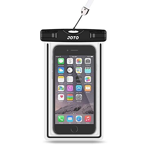 "JOTO Universal Waterproof Case, Cellphone Dry Bag for iPhone Xs Max XR X 8 7 6S Plus SE 2020, Galaxy S10 S10e S9 S8 Plus/S6/Note 8 6 5 4, Pixel 3 XL/3 HTC LG Sony Nokia Motorola up to 6.5"" (Black)"