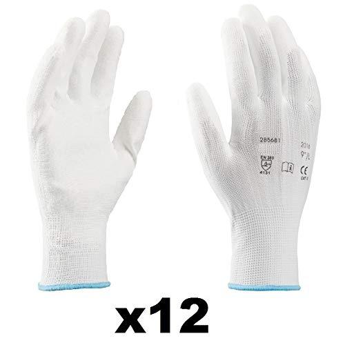 Guanti da lavoro (12 paia) - Guanti di montaggio antiscivolo senza cuciture - comodi da indossare, ideali per riparazioni, industria automobilistica,