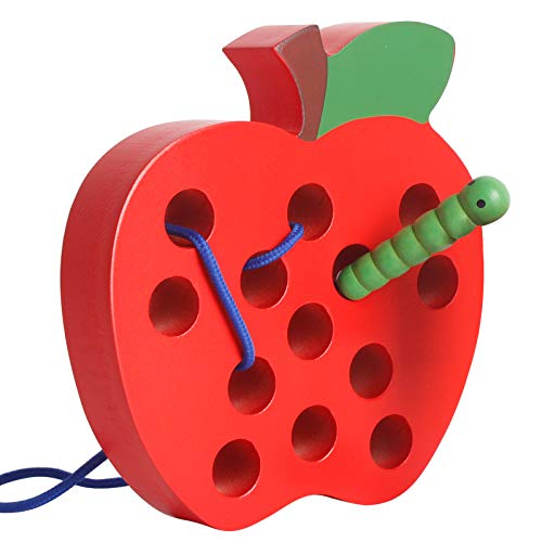 Wooden Apple Lacing Threading Weaving Worm Toy