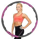 Aro de hula hoop para adultos, tamaño ajustable, para adultos y niños, con 8 secciones desmontables, para fitness, pérdida de peso, tonificación de abdomen, hogar, oficina, 1,15 kg, color rosa