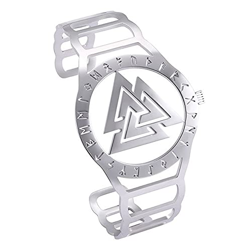 C2Jew Forma De Reloj De Acero Inoxidable Pulsera con Símbolo De Triskele, Odin Vikingo Nórdico Brazalete Grabado De 24 Runas, Diseño Hueco Amuleto Pagano Celta,Runes