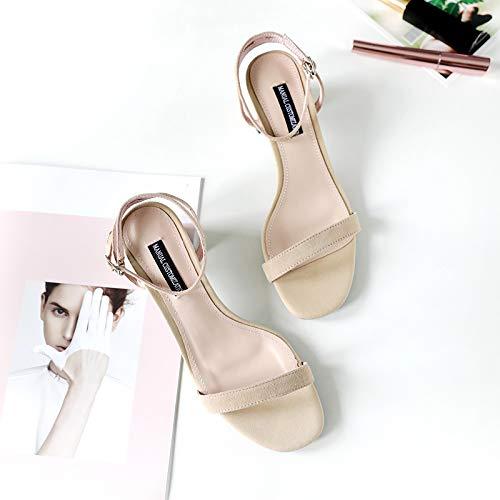 Shukun Dames sandalen Pu Word Gesp Sandalen Vrouwelijke Zomer Met Hoge Hak Dik Met Studenten Romeinse Schoenen Fee Wind Persoonlijkheid