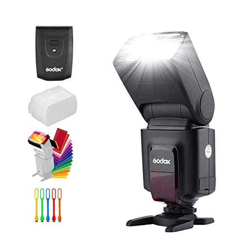 portable flash for cameras Godox Wireless 433MHz GN33 Camera Flash Speedlite with Built-in Receiver with RT Transmitter Compatible for Canon Nikon Sony Olympus Pentax Fuji DSLR Cameras with Diffuser + Filters + USB LED