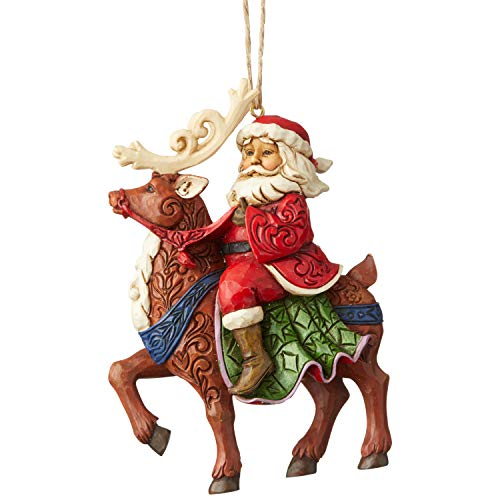 Heartwood Creek by Jim Shore Santa Riding Reindeer Hanging Ornament