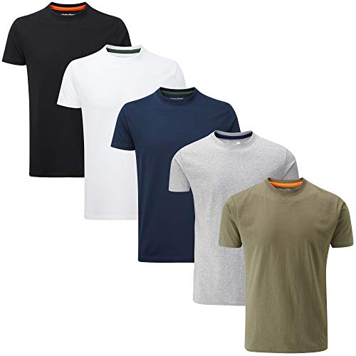 Charles Wilson 5er Packung Einfarbige T-Shirts mit Rundhalsausschnitt (Medium, Mixed Essentials Type 23)