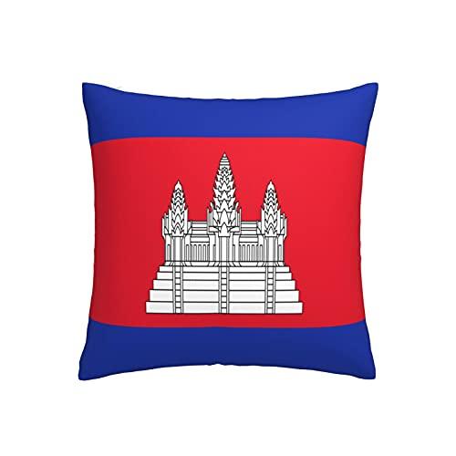 Kissenbezug mit Flagge von Kambodscha, quadratisch, dekorativer Kissenbezug für Sofa, Couch, Zuhause, Schlafzimmer, für drinnen & draußen, 45,7 x 45,7 cm