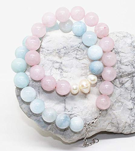 LOVEKUSH 50% Off Gemstone Jewellery Beautiful Rose Quartz, Milky Aquamarine & Pearl Mix Beads Necklace/Smooth Round Beads Necklace/AAA Quality/January Birthstone Necklace Size-10mm Code:- RADE-25338