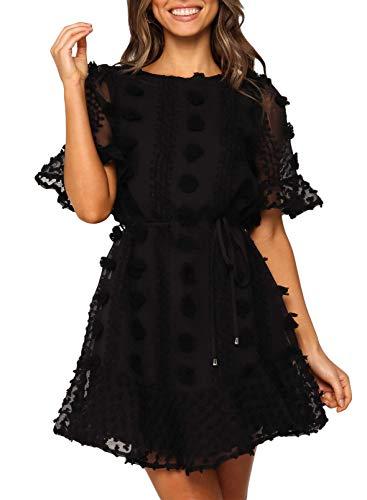 Damen-Kleid, einfarbig, Sommer, Netzstoff, leicht, kurze Ärmel, Rundhalsausschnitt, locker, lässig, Swing, Minikleid Gr. S-XXXXL, Schwarz