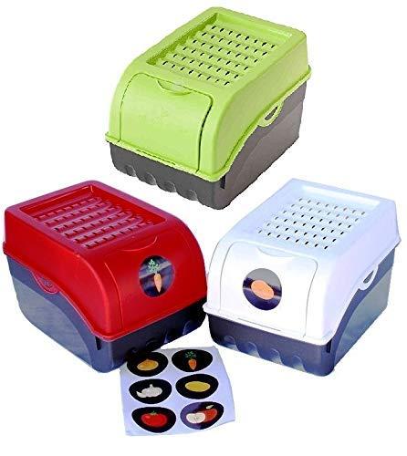 Rival 3 Vorratsdosen (rot + weiß + grün) für Kartoffeln, Gemüse, Obst, Zwiebeln, Aufbewahrungsbox mit Deckel + Aufkleberset
