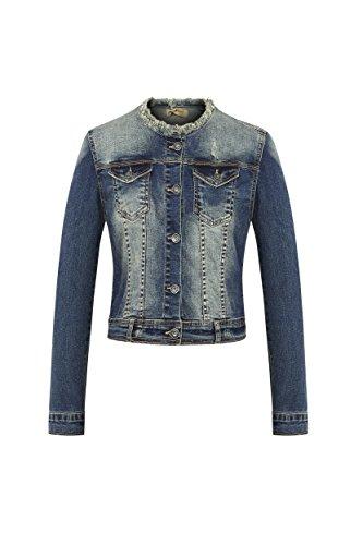 Eurssto Frauen kragenlose dünne Denim Langarm Jeansjacke XL Blau-Navy
