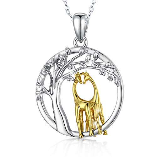 Eusense Collar Jirafa / Elefante / Gato Plata Esterlina 925 , Colgante Animales Lindos, Joyería Regalo para Mujer Niñas