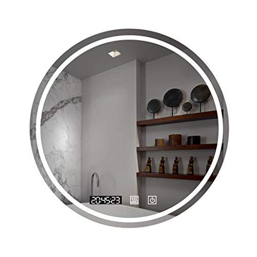 Led verlichte ronde spiegel, 50-80cm wandmontage cirkel verlichte badkamer make-up spiegel met anti-condens voorruitverluchting pad ingebouwde touch schakelaar