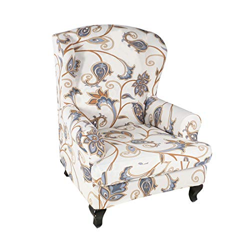Nati Sesselhusse, Stretchhusse für Ohrensessel, Blumen Muster, Elastisch Sesselbezug für Fernsehsessel Relaxsessel, Dekorative Sesselschoner Sofabezug Sofaüberwurf #10
