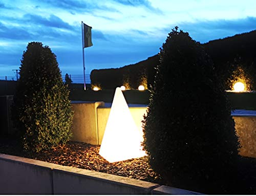 Trango IP65 Gartenleuchte TG7231-60B Außenlampe, Leucht-Figur, Leucht-Pyramide 64cm in weiß inkl. 5 Meter Zuleitungskabel & 1x E27 LED Leuchtmittel, Wegbeleuchtung, Außenleuchte, Gartenlampe, Deko