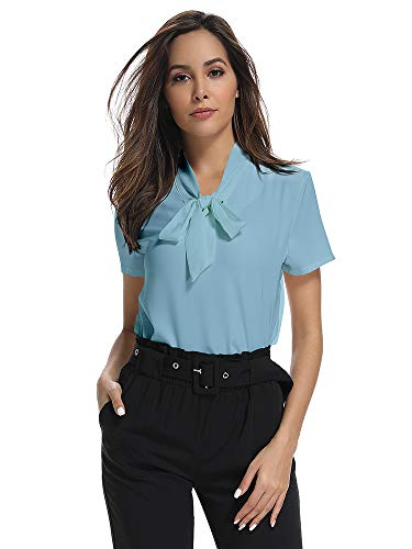 Womens Bow Tie Neck Short Sleeve Casual Office Work Chiffon Blouse Shirts Tops Blue Tag XL-US 2XL