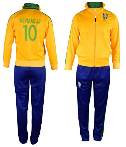 Brazil Neymar #10 Kids Soccer Tracksuit All Youth Sizes Track Jacket Top or Tracksuits with Pants Gift Set (YXL 12-14 Years, Neymar Brazil Home)