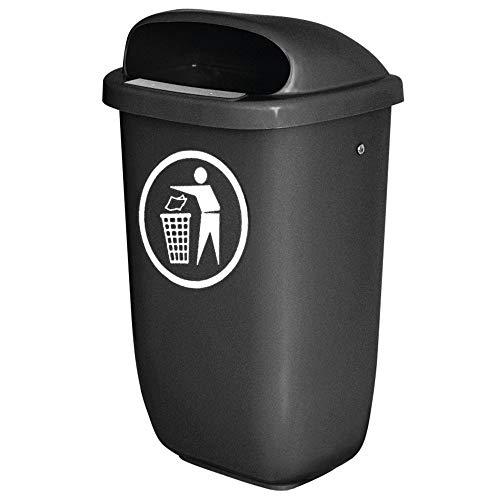BRB Abfall-Behälter für den Außenbereich, Inhalt 50 Liter, nach DIN 30713, anthrazit