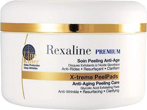 Rexaline - X-treme Peel Pads - Dischetti peeling antietà - Peeling viso all'acido glicolico - Chiarente ed esfoliante - Duo di acido ialuronico - Unificante Cruelty free - 30 disques x 2ml