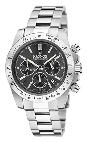 KRONOS - Sport Q Chronograph Grey 969.8.105 - Reloj de Caballero de Cuarzo, Brazalete de Acero, Color Esfera: Gris