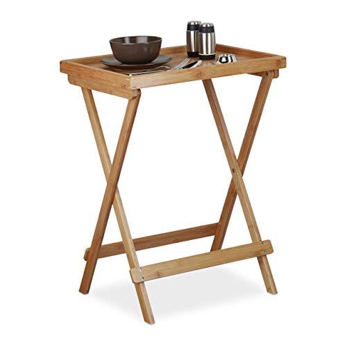 Relaxdays Table plateau de service tablette pliable bambou table appoint petit déjeuner HxlxP: 66 x 50 x 38,5 cm, nature