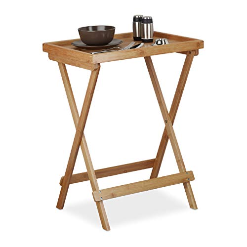 Relaxdays Tabletttisch Bambus H x B x T: ca. 66 x 50 x 38,5 cm Beistelltisch mit Tablett für Frühstück, Klapptisch als Serviertisch, Serviertablett, natur