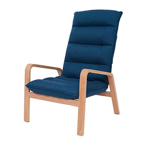 HAIYU- Sillón Reclinable, Sillón de Madera Sillón con Respaldo Ajustable de 6 Posiciones Sillón de Ocio para El Hogar con Asiento Tapizado, 60 x 68 x 96 cm, Fácil Montaje(Color:Azul)