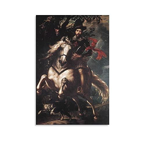 Póster de Peter Paul Rubens - Cuadro de retrato de Giovanni Carlo Doria a caballo (50 x 75 cm)