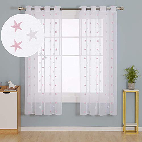 Deconovo Cortinas Visillos para Ventana Cortina Transparente con Ojales para Dormitorio 2 Piezas 140 x 183 cm Rosa