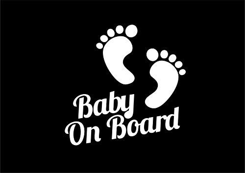 """033W Vinyl-Aufkleber Baby-Füße mit Aufschrift """"Baby on Board"""", Auto, Fenster"""