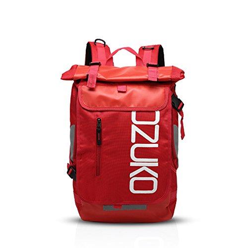 FANDARE Rucksack Bergsteigen Schulrucksack Rolltop Daypacks für 15.6 Zoll Laptoptasche Herren Damen Rucksäcke zum Reise Wandern Camping Schulranzen Schultasche Daypacks Rot