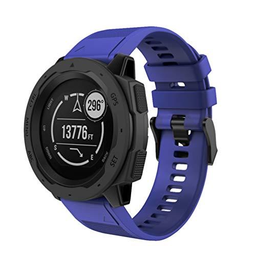 HappyTop Correa de Repuesto para Reloj Inteligente Garmin Instinct, Correa Deportiva de liberación rápida, Silicona, Color Azul Oscuro, Deportes