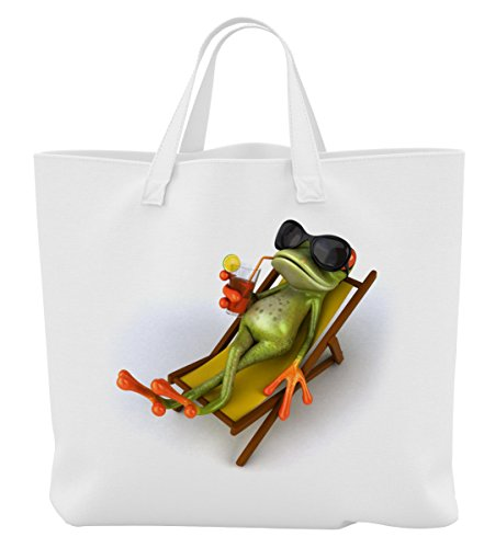 Merchandise for Fans Einkaufstasche - 45 x 42 cm x 9,5 cm, 18 Liter - Motiv: 3D Comic Frosch im Liegestuhl mit Cocktail - 25