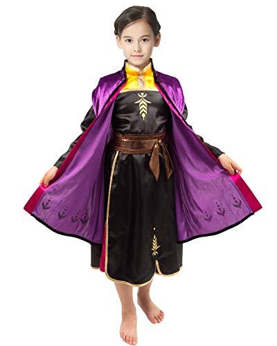 IKALI Costume da Principessa per Ragazze Vestito da Festa di Carnevale per Bambini Deluxe con Cappuccio Viola