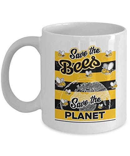 Salva a las abejas. Salve el planeta. Linda taza de regalo de café y té con diseño gráfico de abeja de miel, suministros, accesorios, cosas, artículos, productos y regalos de apicultura