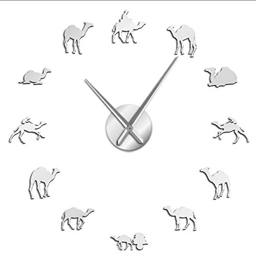 Relojes De Pared Beduino Camello Grande DIY Reloj de Pared dromedario árabe Desierto espíritu Animales hogar decoración de Arte Interior sin Marco Reloj de Pared silencioso plata-47 Inch