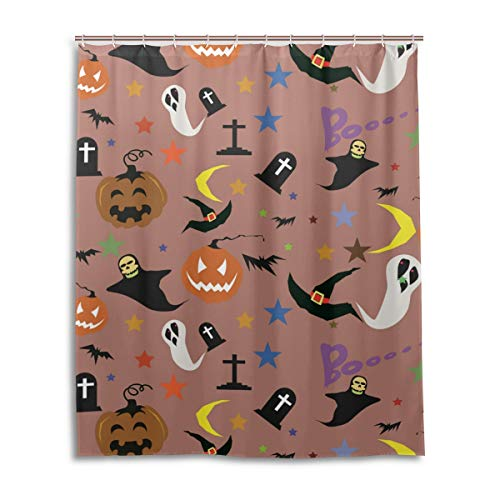 JSTEL Decor Rideau de douche Halloween citrouille avec motif imprimé 100 % polyester 152 x 183 cm