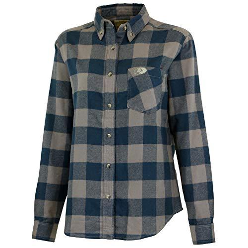 Mossy Oak Petite Womens Flannel Shirt, Buffalo Plaid Shirts for Women, Grey Buffalo, Large
