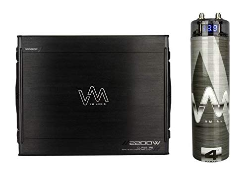 Sale!! VM Audio SRA2200.1 2200W Mono AB Car Amplifier Power Amp + 4.5 Farad Capacitor