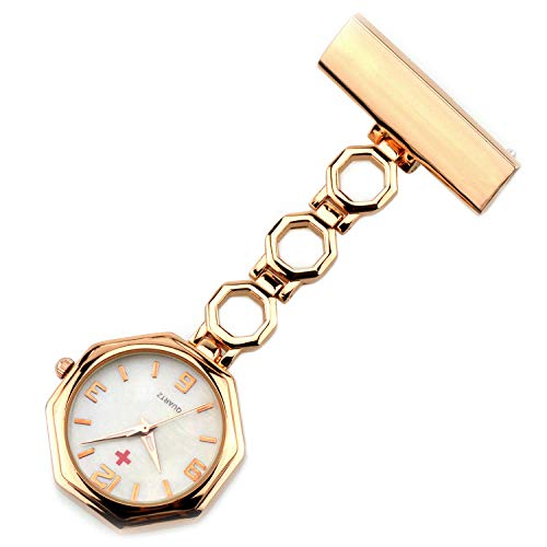 Cxypeng Damen Taschenuhr Krankenschwester,Achteckige Krankenschwestertisch Taschenuhr Doktor hängende Uhr männlichen und weiblichen Stift Brust-Rose Gold,Pulsuhr Krankenschwester