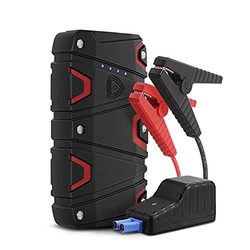 Arrancador de Batería de Coche 800A 12000mAh Batería De Automóvil Starter Starter Impermeable con DIRIGIÓ Linterna USB Puerto De Carga Fácil de Conectar (Color : Black, Size : 12000mAh)