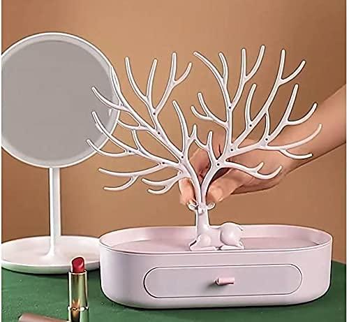 erddcbb Soporte de joyería Antler Colgador de joyería en Forma de árbol con cajón para Pendientes, Collares, Anillos, Colgantes, Pulseras
