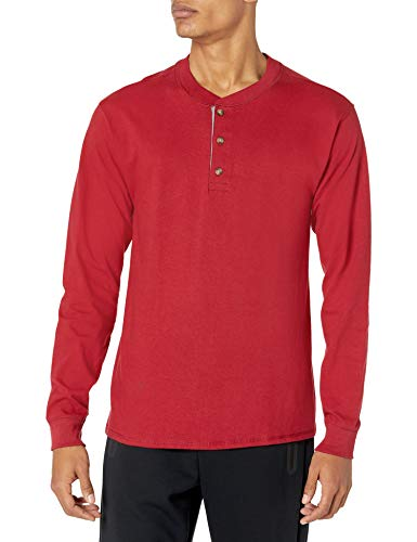 Hanes Men's Long-Sleeve Beefy Henley T-Shirt - X-Large - Burnt Brick