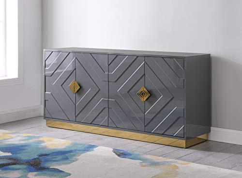 Best Master Furniture Titus High Gloss Lacquer Sideboard/Buffet with Gold Trim, Grey