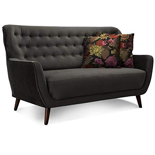 CAVADORE 2-Sitzer-Sofa Abby / Retro-Couch mit Samtbezug und Knopfheftung / 153 x 89 x 88 / Samtoptik, grau