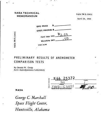 Preliminary results of anemometer comparison tests (English Edition)