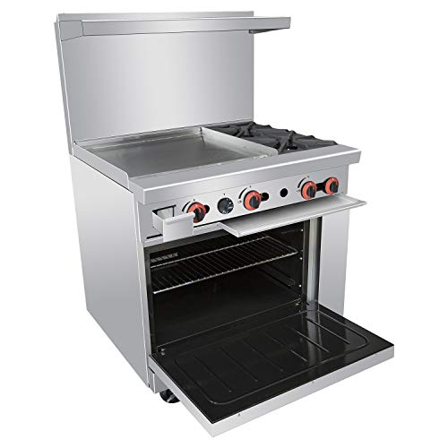 Commercial 36'' Gas 2 Burner Range With Griddle and Standard Oven - Kitma Heavy Duty Liquid Propane Cooking Performance Group for Kitchen Restaurant  121 000 BTU