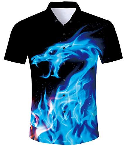 TUONROAD Hawaiihemden für Herren Flammen Hemd Hawai Hemd Herren Kurzarm 3D Flammen Herren Hawaiihemd Bunte Sommerhemden Kurzarm Ferien Shirt Freizeithemden L
